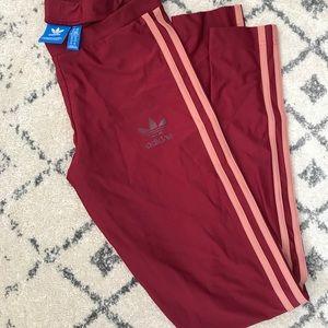 Dark red, adidas leggings size XS